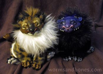 Golden Bengal and Dusk Rex Manticore Cubs by WormsandBones