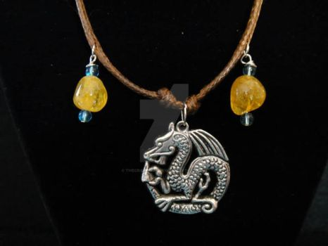 Amber and Blue Beaded Dragon Necklace by TheCraftyMaiden