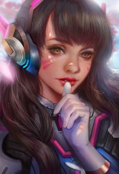 D.va overwatch fan art by jiuge