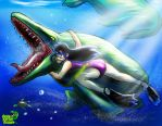 Swimming with Mosasaur by GreenRaptor15