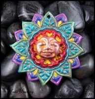 Polymer Clay Amulet Pendant - Lotus Flower Goddess by andromeda
