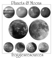 Planets and Moons Brushes by froggiesresources