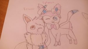 Eevee and Sylveon :Pokemon: by Trianglecat901fluf