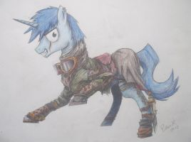 Wastelander pony (colored) by duh-veed