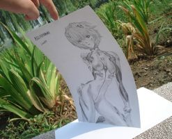 Ayanami Rei Pencil A4 card papper by Lance97