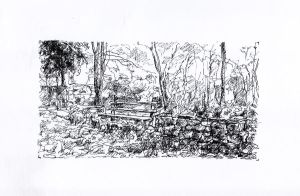Bench and Trees - Sketch no #005 by tutanvaly