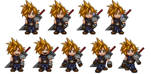 Cloud Strife Sprite Sheet by AnthonyFoti