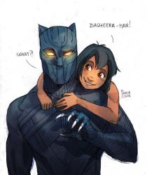 Black Panther and Mowgli by MabyMin