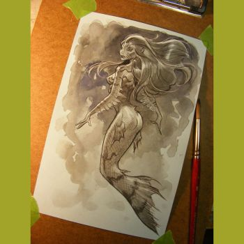 mermaid watercolor wash by MichaelDooney