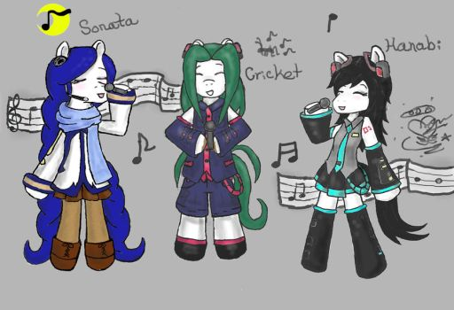 Hanabi and Friends: Vocaloid ponies!!! by Hanabi-Haven-23