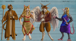 Commission - 4 Character Lineup Painting by OllyChimera