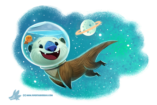 Daily Paint #1186. Otter Space by Cryptid-Creations