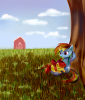 Rainbow Dash and Apple Bloom by Incinerater