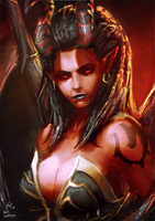 Red Succubus Kerrigan Sketch by raikoart