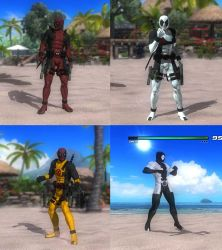 DOA5LR Deadpool x4  Mod Pack by monkeygigabuster