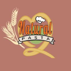 Natural Pasta Logo (Full) [red-warm bg] by optimismeBoo