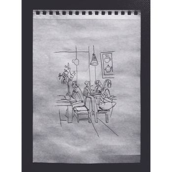 Cafe sketch by WebagentOnAir