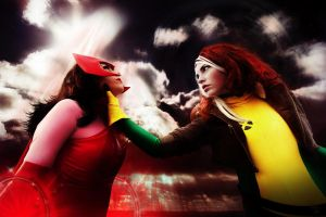 Scarlet Witch vs Rogue by corymc