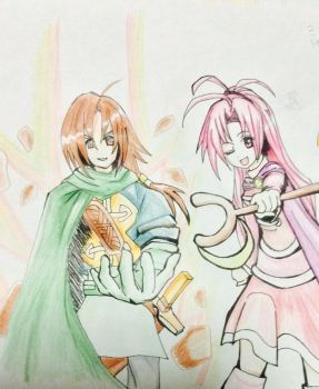 Felix and Jenna of Golden Sun in battle by Akane-Churi