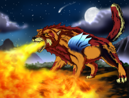 Giant Fire Wolf by Tai91
