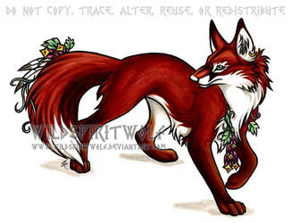 Flower Fox Copic by WildSpiritWolf