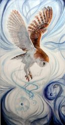 The-Wind-Calls-watercolor-owl-painting by Artist-AbigailMarie