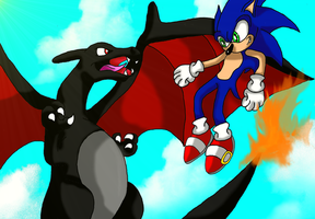 Charizard VS Sonic by Starlight-Sonic