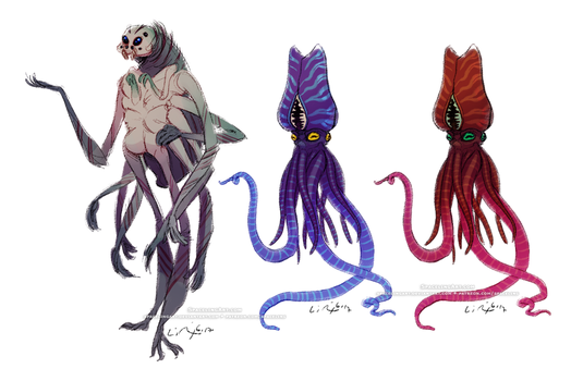 Spider- and Squid-inspired Aliens by SpacelingArt