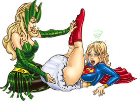 Supergirl is diapered by Enchantress by Jamjarmons by megabluex