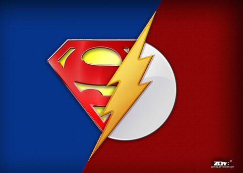 Superman and the flash logo by zomaa