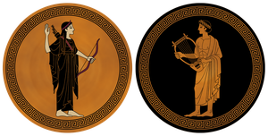 Artemis and Apollo by yoctoparsec