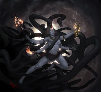 Ardhanarisvara - Shiva as the hermaphrodite by molee