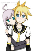 Utatane Piko and Kagamine Len by PlatinumBubbles