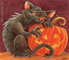Cat and Jack-O-Lantern by RobbVision
