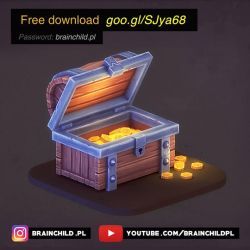 FREE DOWNLOAD - 3d Treasure chest model + texture by brainchilds