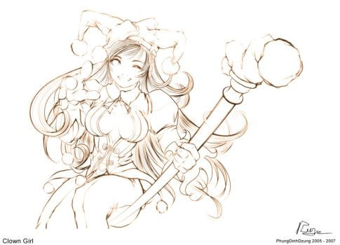clown_girl_sketch by phungdinhdung
