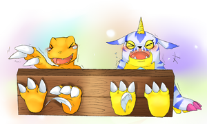 agumon and gabumon tickled by rachelwars (c) by Alphaws