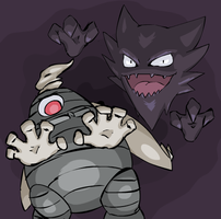 Ghost Type- Dusclops n Haunter by ArturokMozArk