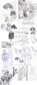 Sketch dump from History of Arts class by kokkoroo