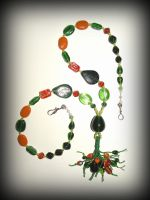 Green and  orange glass beads necklace by marsvar