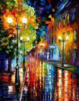 Mysterious Night Street by Leonid Afremov by Leonidafremov