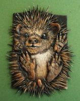 Hedgehog Polymer clay ACEO by MandarinMoon