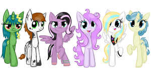 Six very happy ponies (Finished collab) by KYAokay