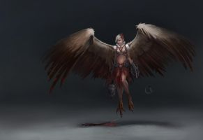 Harpy concept art by Lakmys