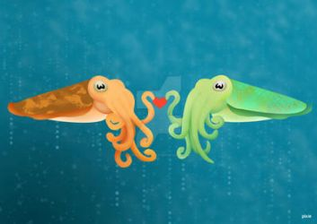 Cuttlefish Love - Valentine's Day 2013 by pixity-mish