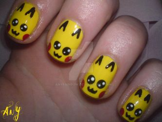 Pikachu Nail Design by AnyRainbow