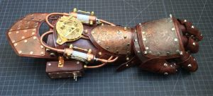 Etched Armored Steampunk Gauntlet by CraftedSteampunk