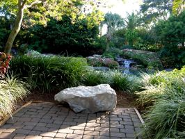 Garden with waterfall stock 5 by FairieGoodMother