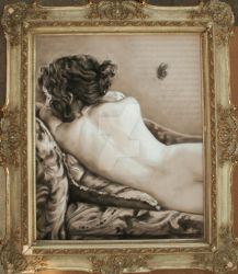 Black Butterfly, vintage frame by White-Lily-Art