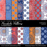 Mandala Patterns Blue, Coral And Orange by MysticEmma